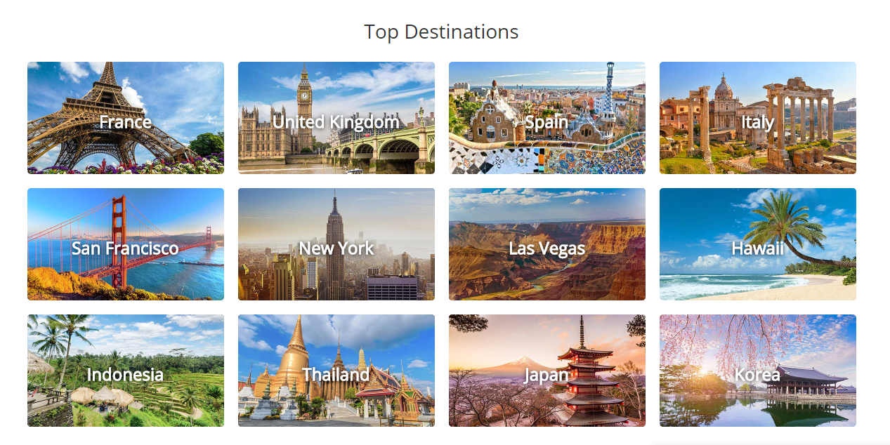 Veltra top destinations